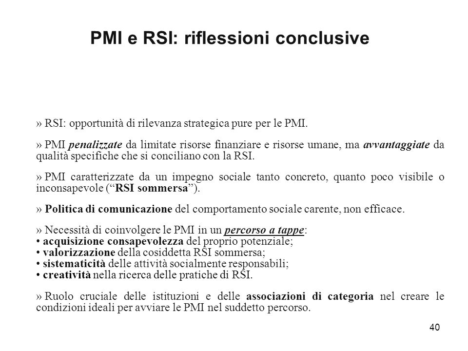 PMI e RSI: riflessioni conclusive