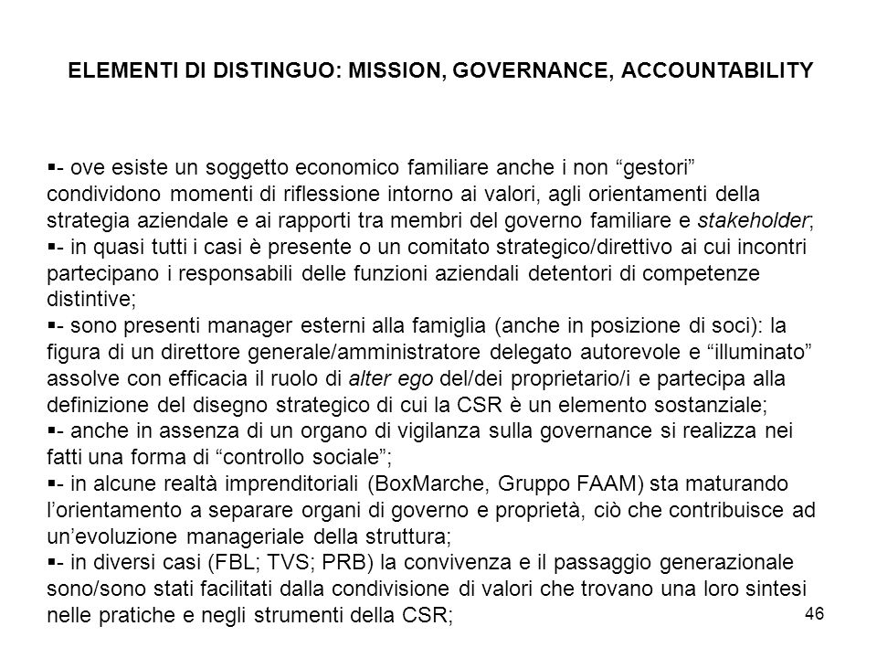 ELEMENTI DI DISTINGUO: MISSION, GOVERNANCE, ACCOUNTABILITY