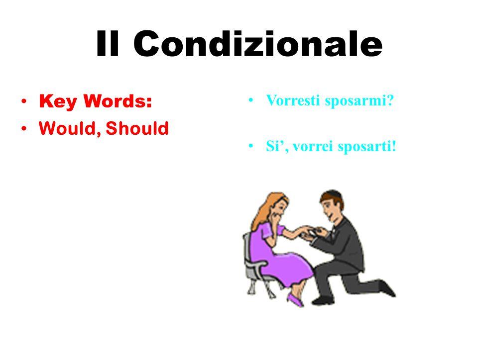 Il Condizionale Key Words: Would, Should Vorresti sposarmi