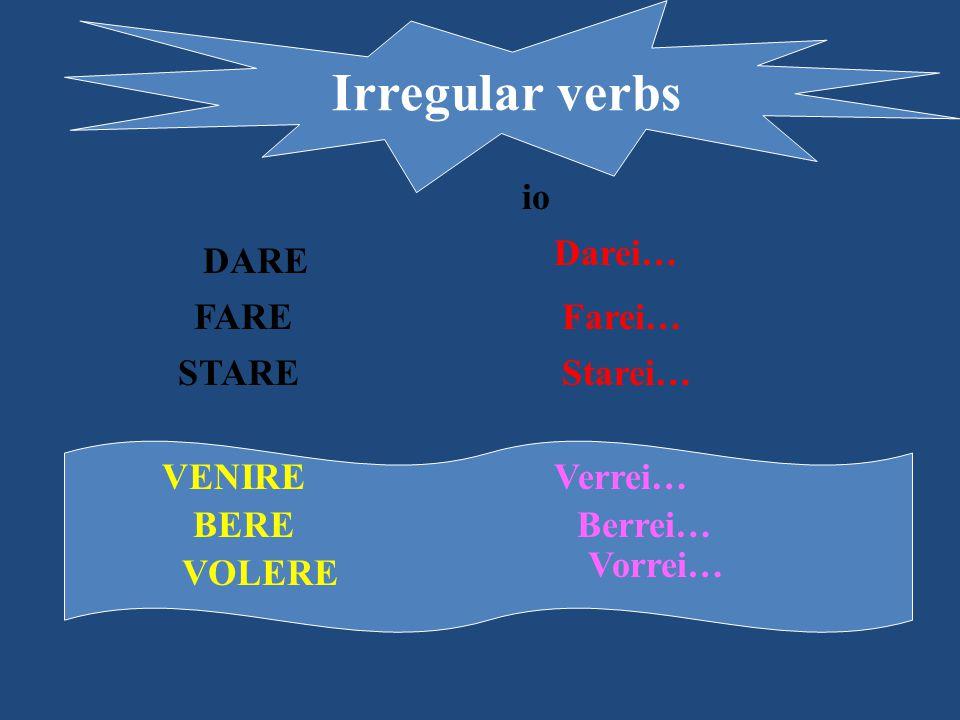 Irregular verbs io Darei… DARE FARE Farei… STARE Starei… VENIRE