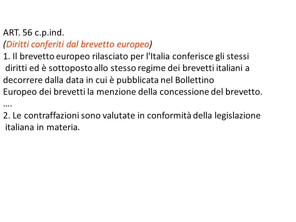 ART. 56 c.p.ind. (Diritti conferiti dal brevetto europeo) 1. Il brevetto europeo rilasciato per l Italia conferisce gli stessi.