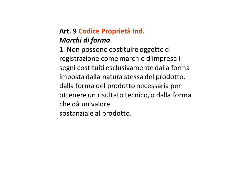 Art. 9 Codice Proprietà Ind.