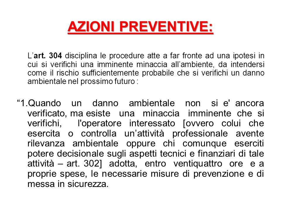 AZIONI PREVENTIVE: