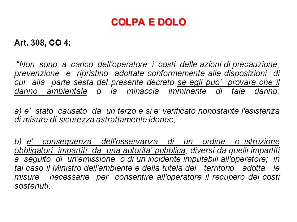 COLPA E DOLO Art. 308, CO 4: