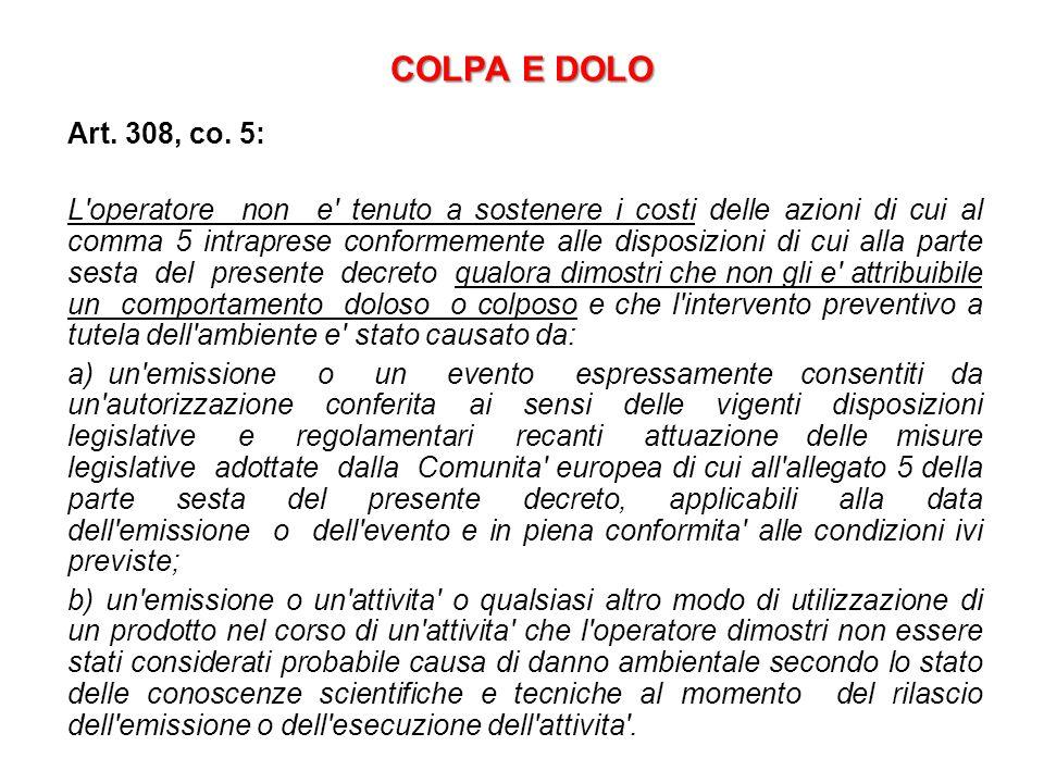 COLPA E DOLO Art. 308, co. 5: