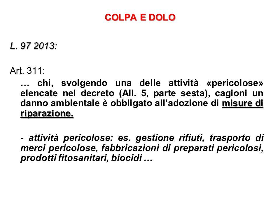 COLPA E DOLO L. 97 2013: Art. 311: