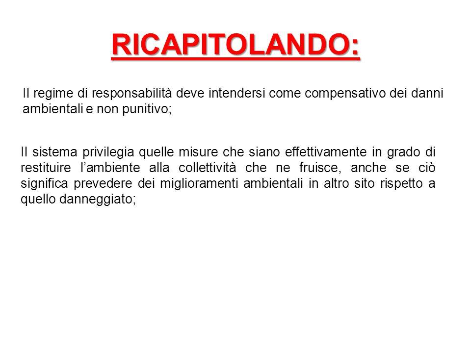 RICAPITOLANDO: Il regime di responsabilità deve intendersi come compensativo dei danni ambientali e non punitivo;