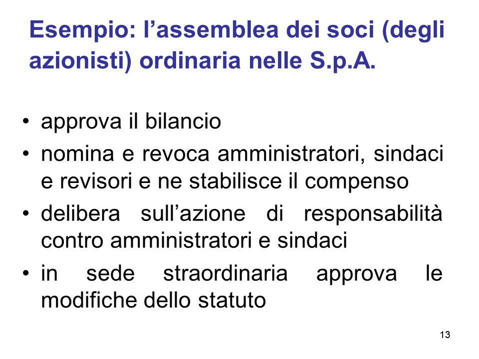 Esempio: l'assemblea dei soci (degli azionisti) ordinaria nelle S.p.A.