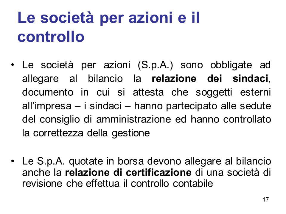 Le società per azioni e il controllo