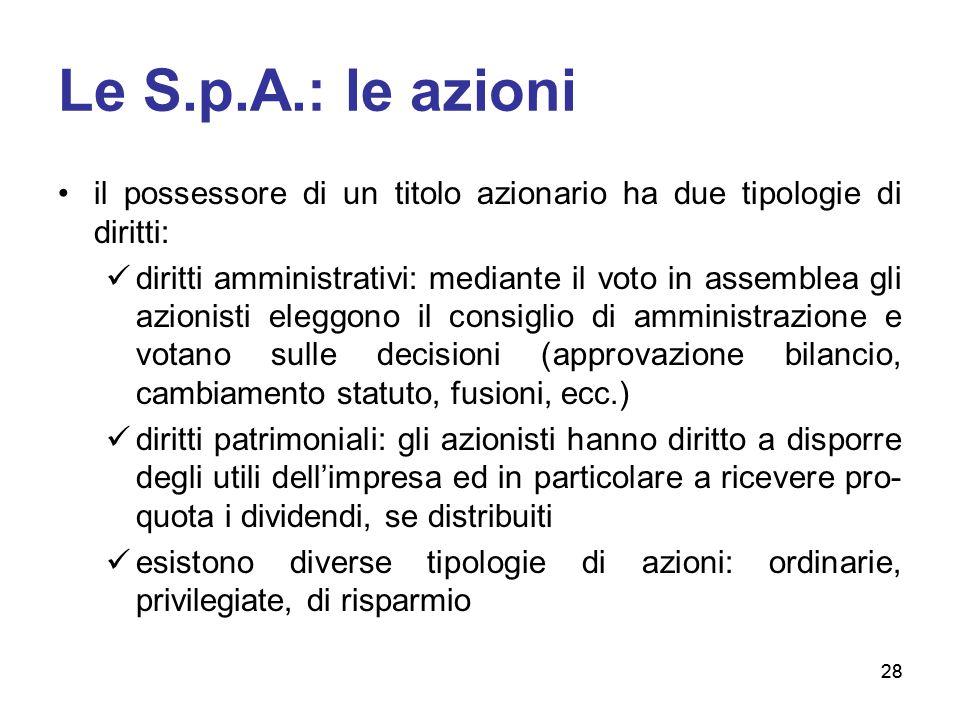Le S.p.A.: le azioni il possessore di un titolo azionario ha due tipologie di diritti: