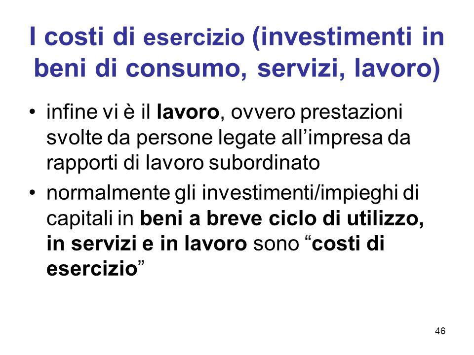 I costi di esercizio (investimenti in beni di consumo, servizi, lavoro)