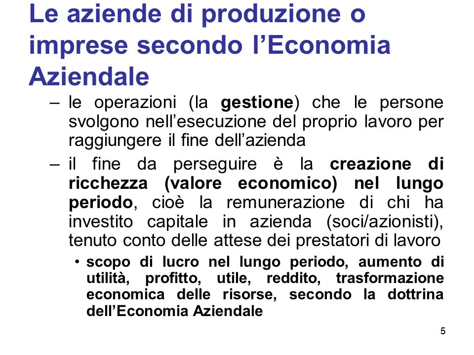 Le aziende di produzione o imprese secondo l'Economia Aziendale