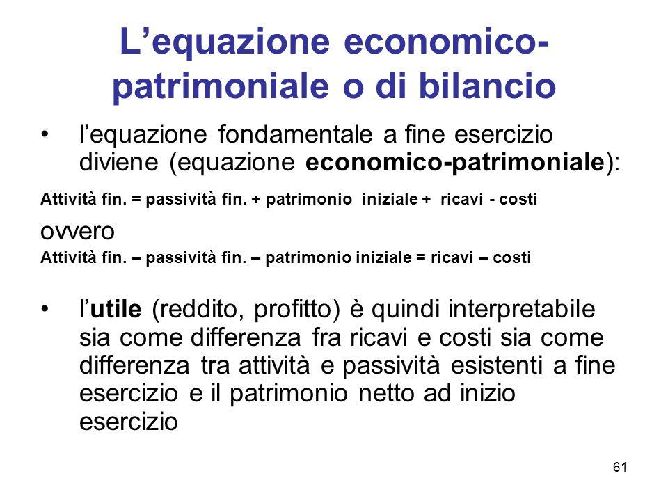 L'equazione economico-patrimoniale o di bilancio