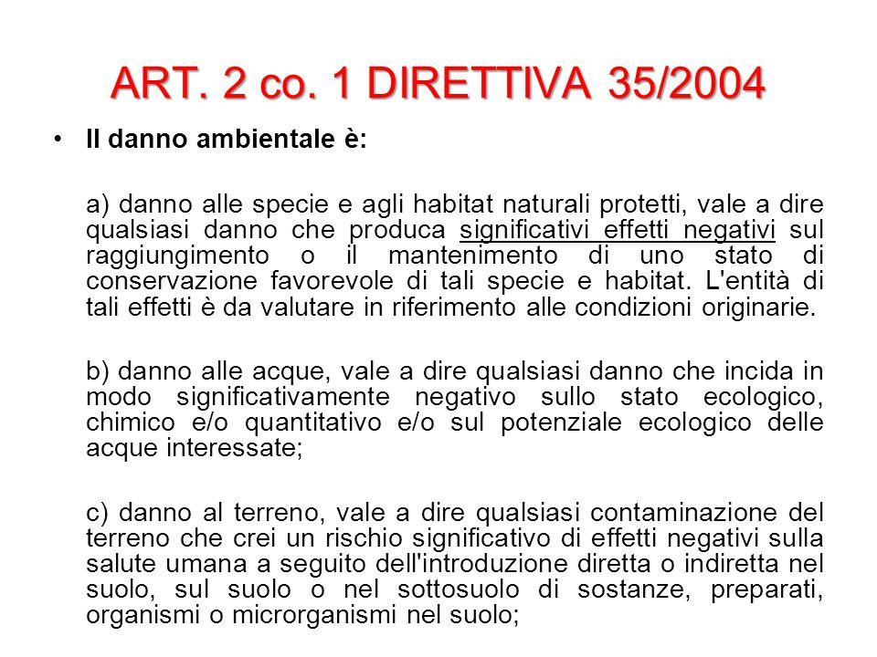 ART. 2 co. 1 DIRETTIVA 35/2004 Il danno ambientale è: