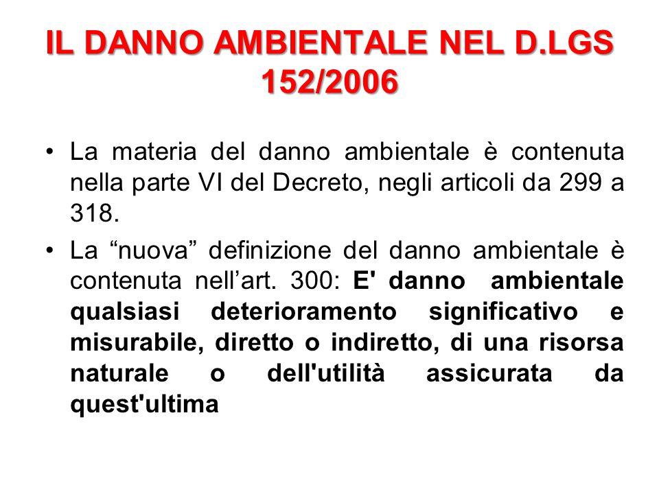 IL DANNO AMBIENTALE NEL D.LGS 152/2006