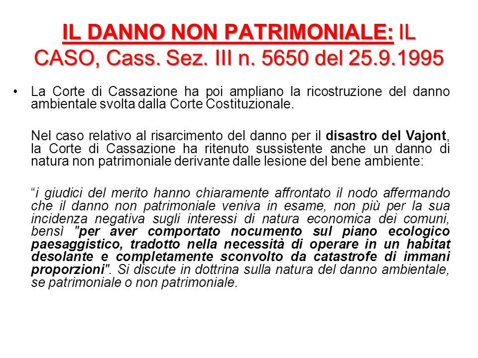 IL DANNO NON PATRIMONIALE: IL CASO, Cass. Sez. III n. 5650 del 25. 9