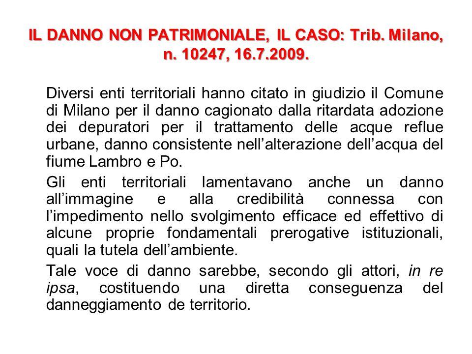 IL DANNO NON PATRIMONIALE, IL CASO: Trib. Milano, n. 10247, 16.7.2009.
