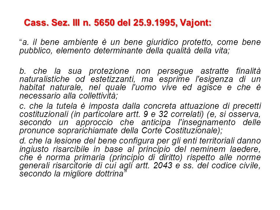 Cass. Sez. III n. 5650 del 25.9.1995, Vajont: