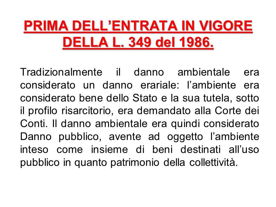 PRIMA DELL'ENTRATA IN VIGORE DELLA L. 349 del 1986.