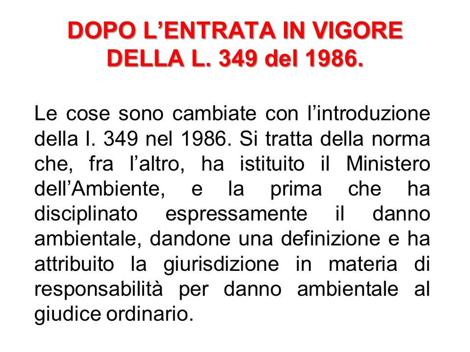 DOPO L'ENTRATA IN VIGORE DELLA L. 349 del 1986.