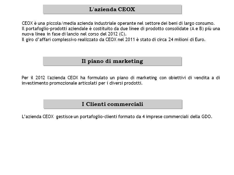 L azienda CEOX Il piano di marketing I Clienti commerciali