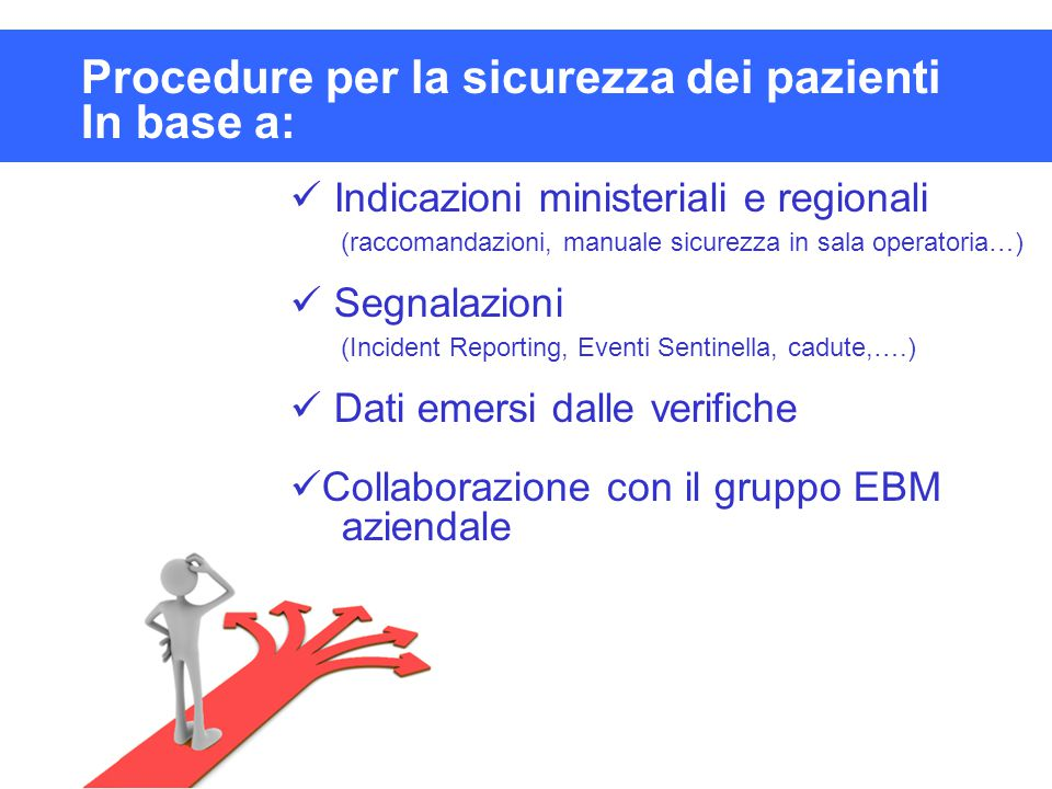 Procedure per la sicurezza dei pazienti In base a: