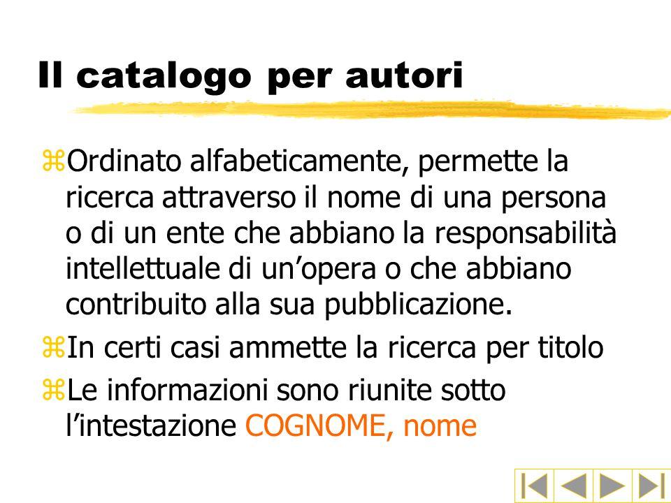 Il catalogo per autori