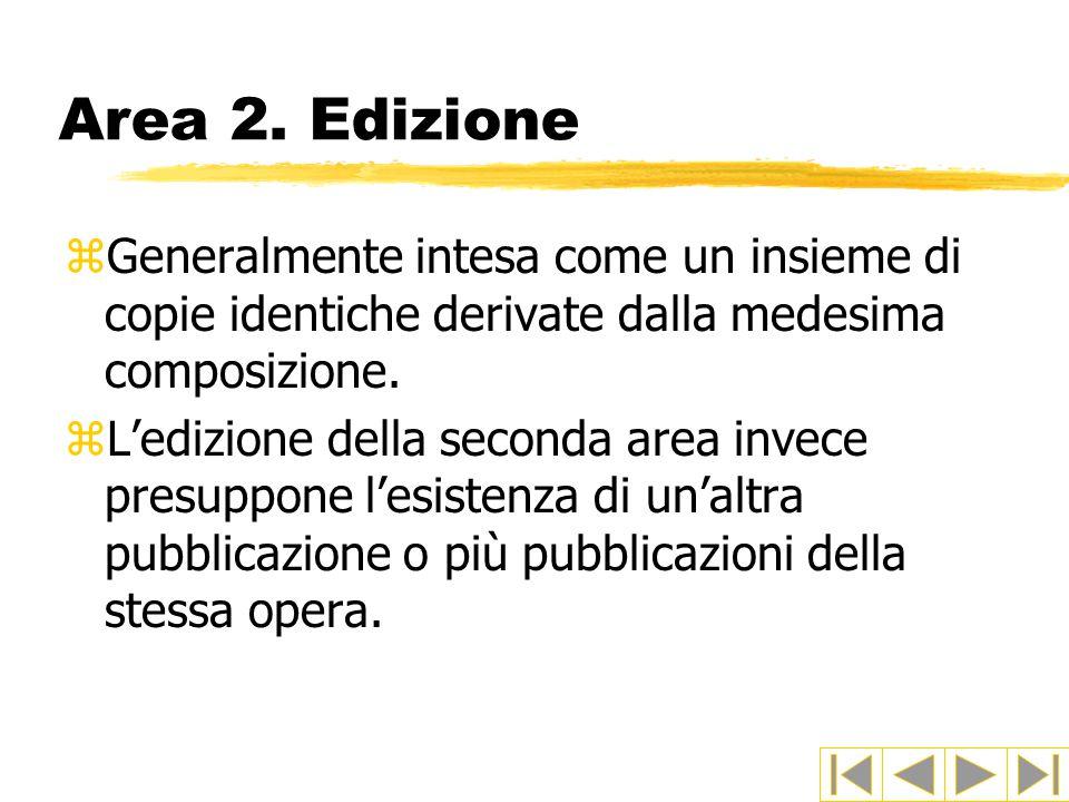 Area 2. Edizione Generalmente intesa come un insieme di copie identiche derivate dalla medesima composizione.