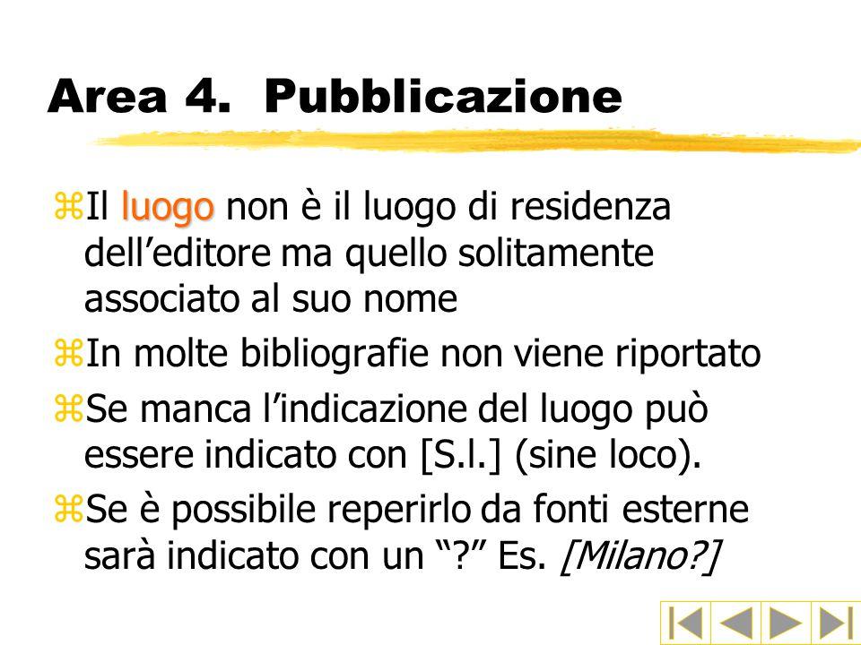 Area 4. Pubblicazione Il luogo non è il luogo di residenza dell'editore ma quello solitamente associato al suo nome.
