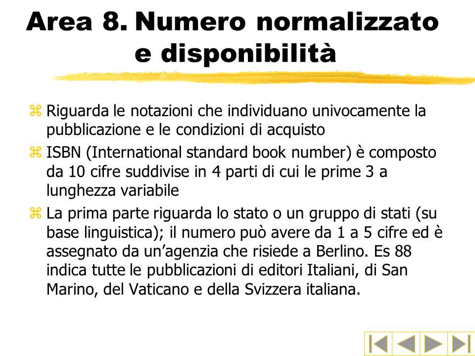 Area 8. Numero normalizzato e disponibilità