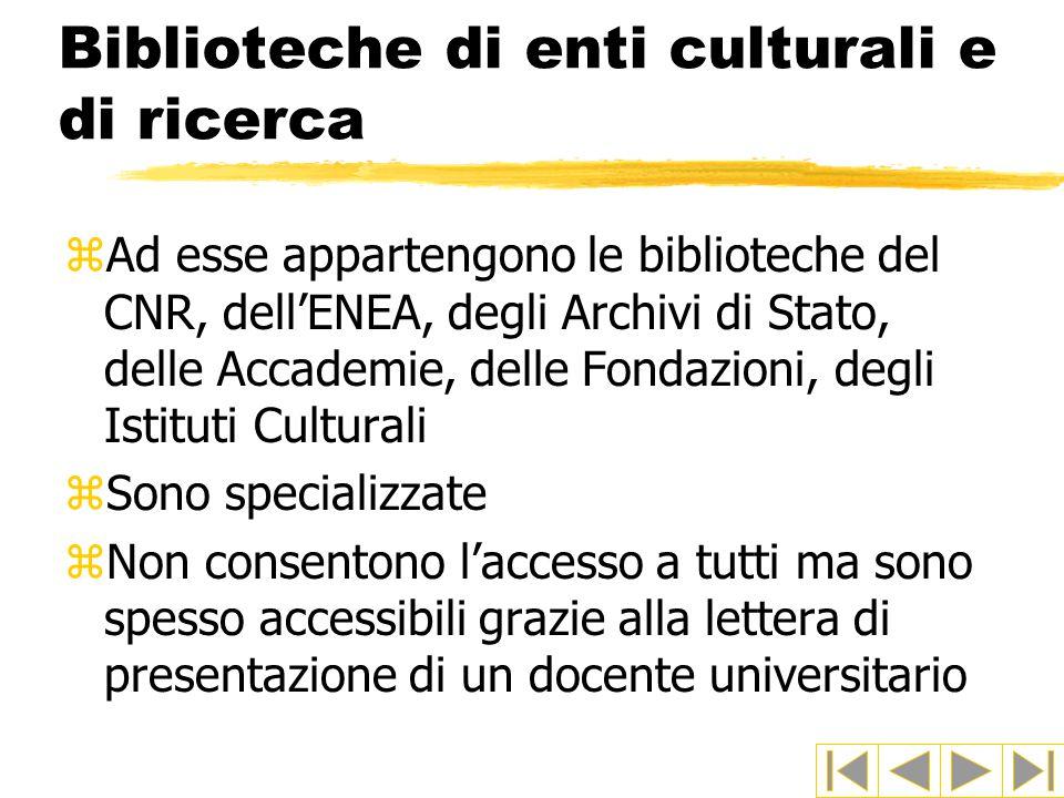 Biblioteche di enti culturali e di ricerca