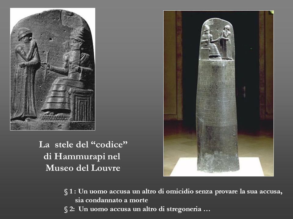 La stele del codice di Hammurapi nel Museo del Louvre