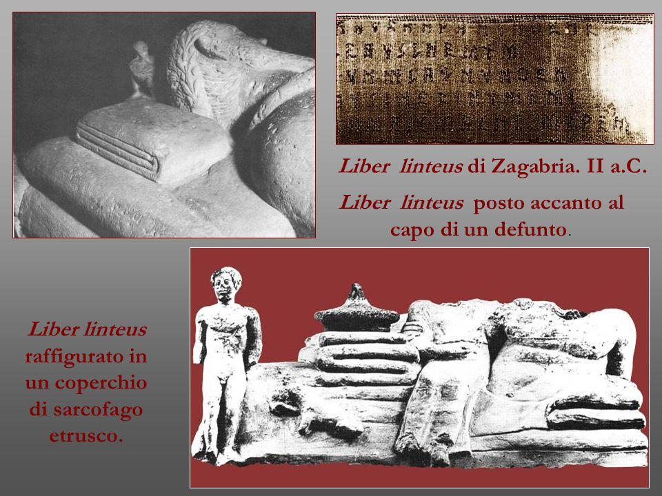Liber linteus raffigurato in un coperchio di sarcofago etrusco.