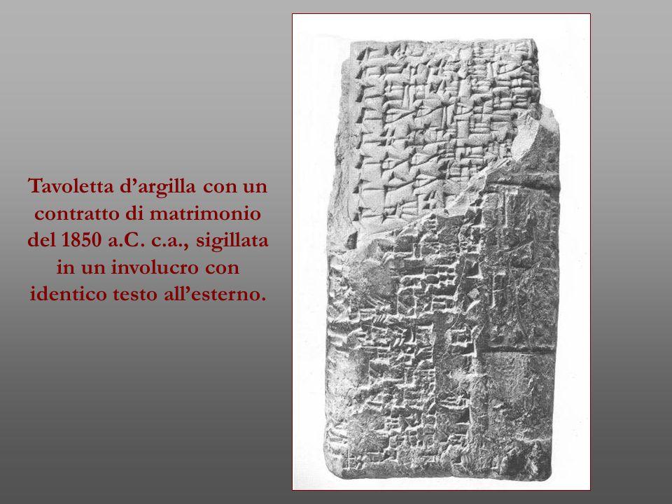 Tavoletta d'argilla con un contratto di matrimonio del 1850 a. C. c. a