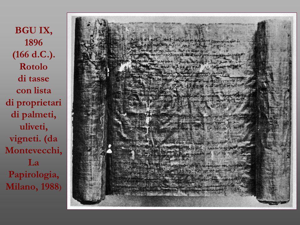 BGU IX, 1896. (166 d.C.). Rotolo. di tasse. con lista. di proprietari.
