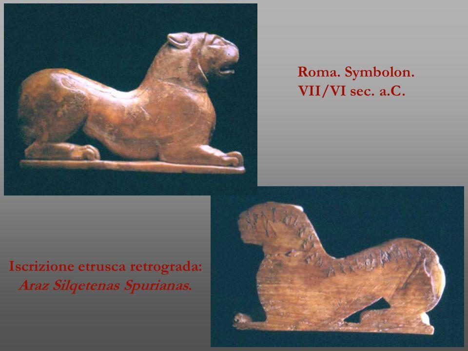 Iscrizione etrusca retrograda: Araz Silqetenas Spurianas.