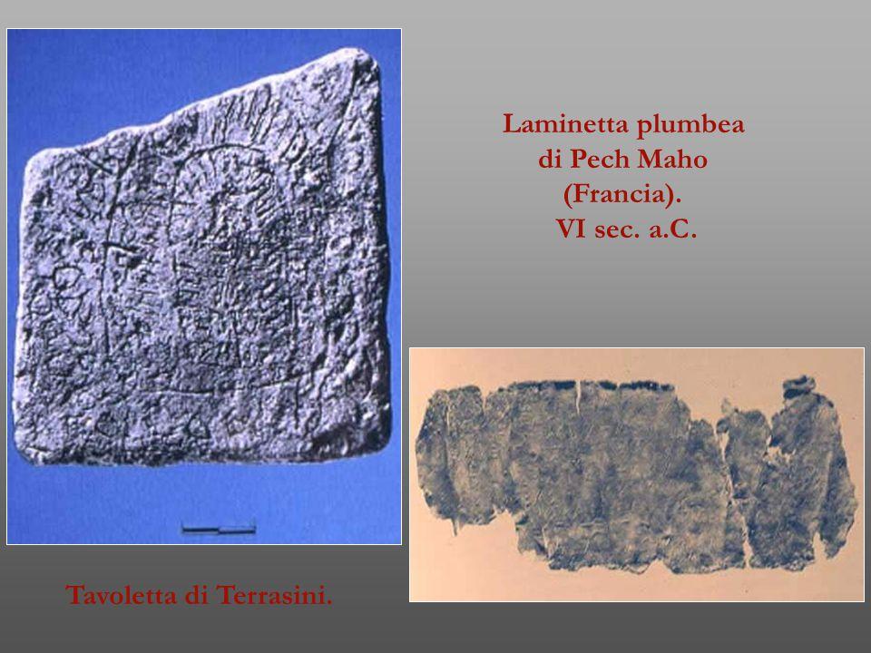 Laminetta plumbea di Pech Maho (Francia). VI sec. a.C. Tavoletta di Terrasini.