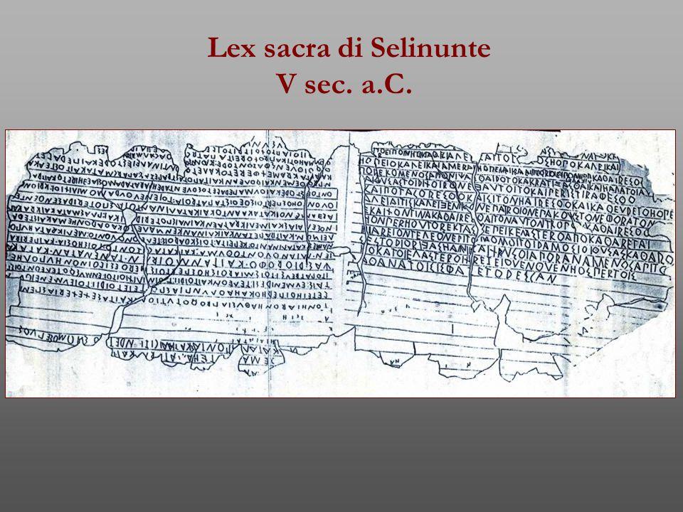 Lex sacra di Selinunte V sec. a.C.