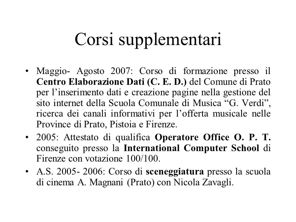 Corsi supplementari