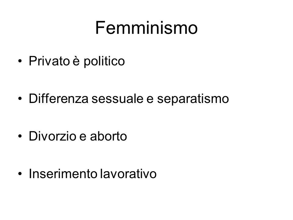 Femminismo Privato è politico Differenza sessuale e separatismo