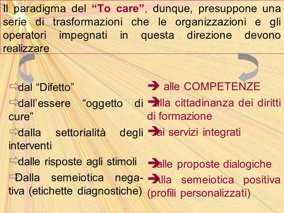Il paradigma del To care , dunque, presuppone una serie di trasformazioni che le organizzazioni e gli operatori impegnati in questa direzione devono realizzare