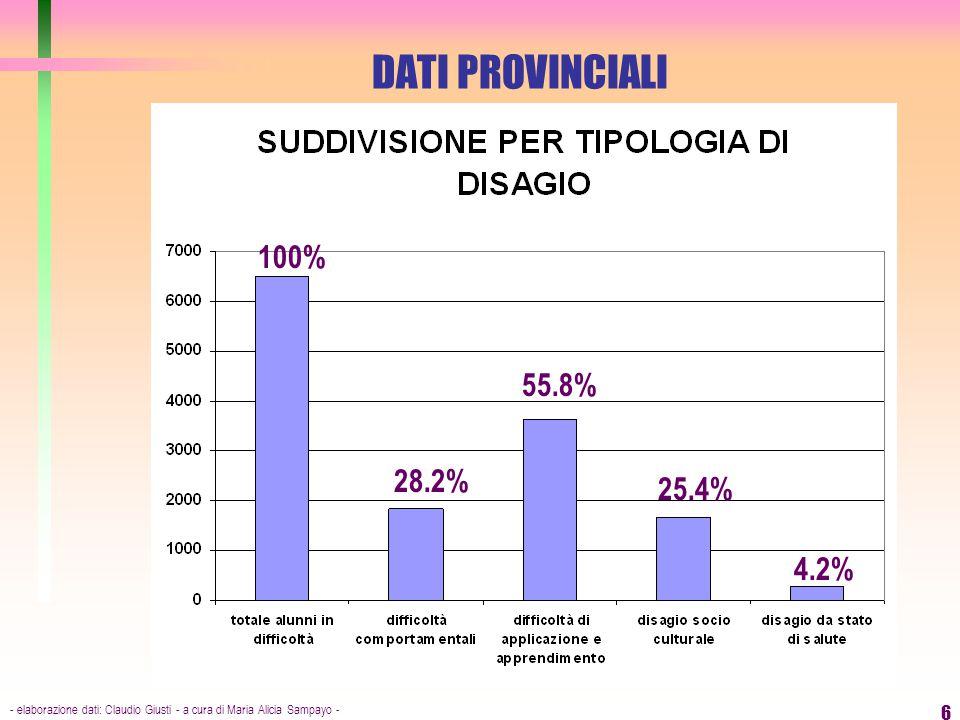 DATI PROVINCIALI 100% 55.8% 28.2% 25.4% 4.2%