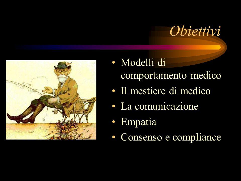 Obiettivi Modelli di comportamento medico Il mestiere di medico