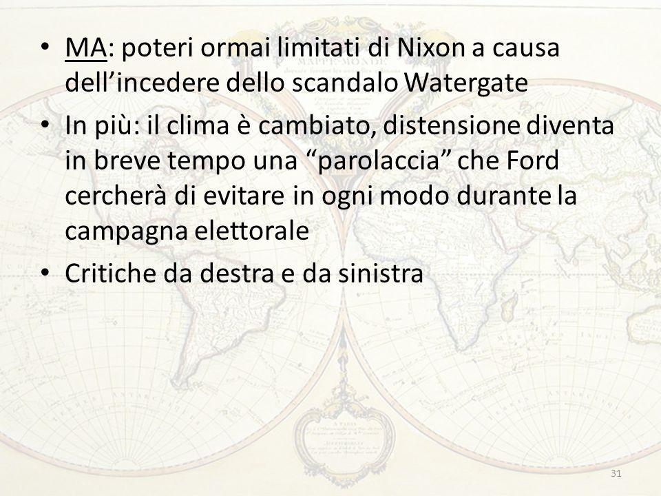 MA: poteri ormai limitati di Nixon a causa dell'incedere dello scandalo Watergate