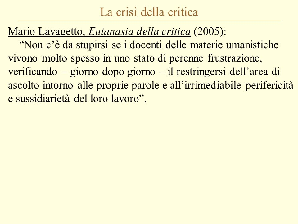 La crisi della critica