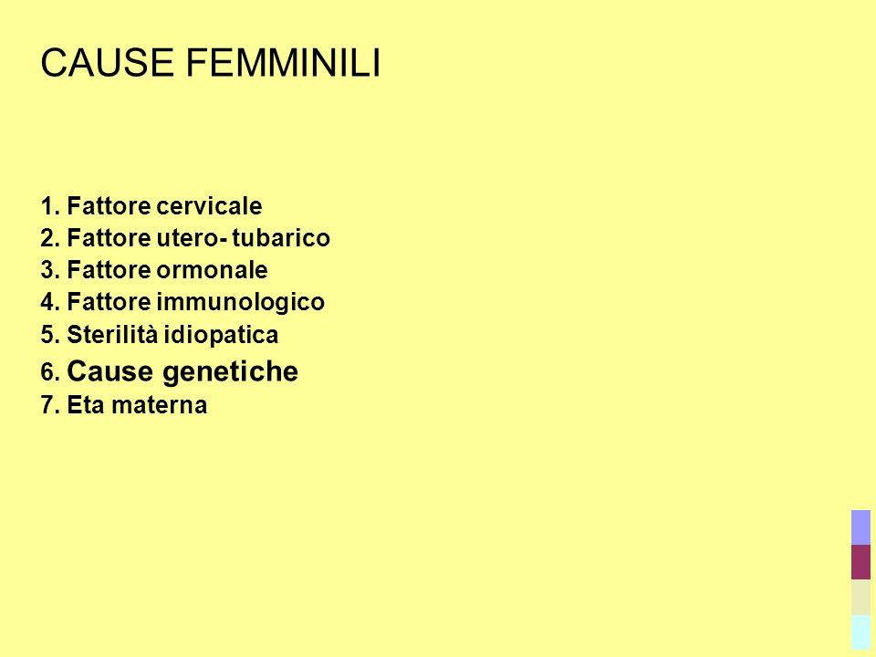 CAUSE FEMMINILI 1. Fattore cervicale 2. Fattore utero- tubarico