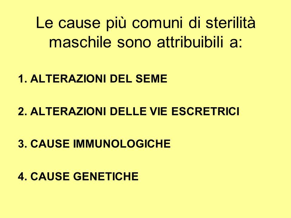 Le cause più comuni di sterilità maschile sono attribuibili a: