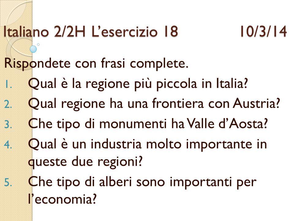 Italiano 2/2H L'esercizio 18 10/3/14