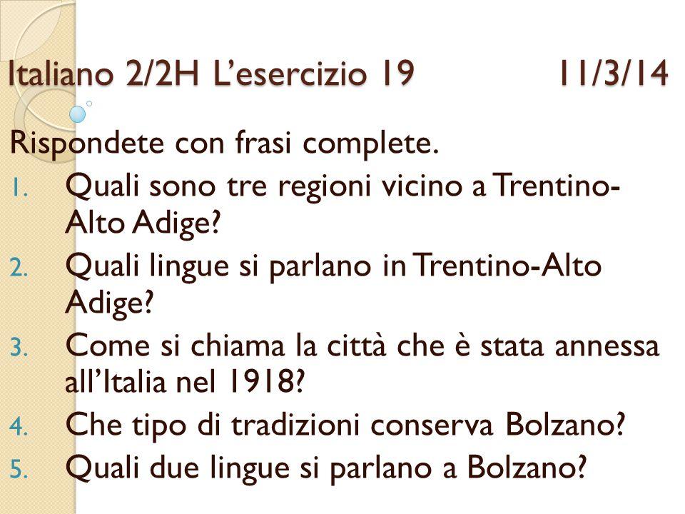 Italiano 2/2H L'esercizio 19 11/3/14