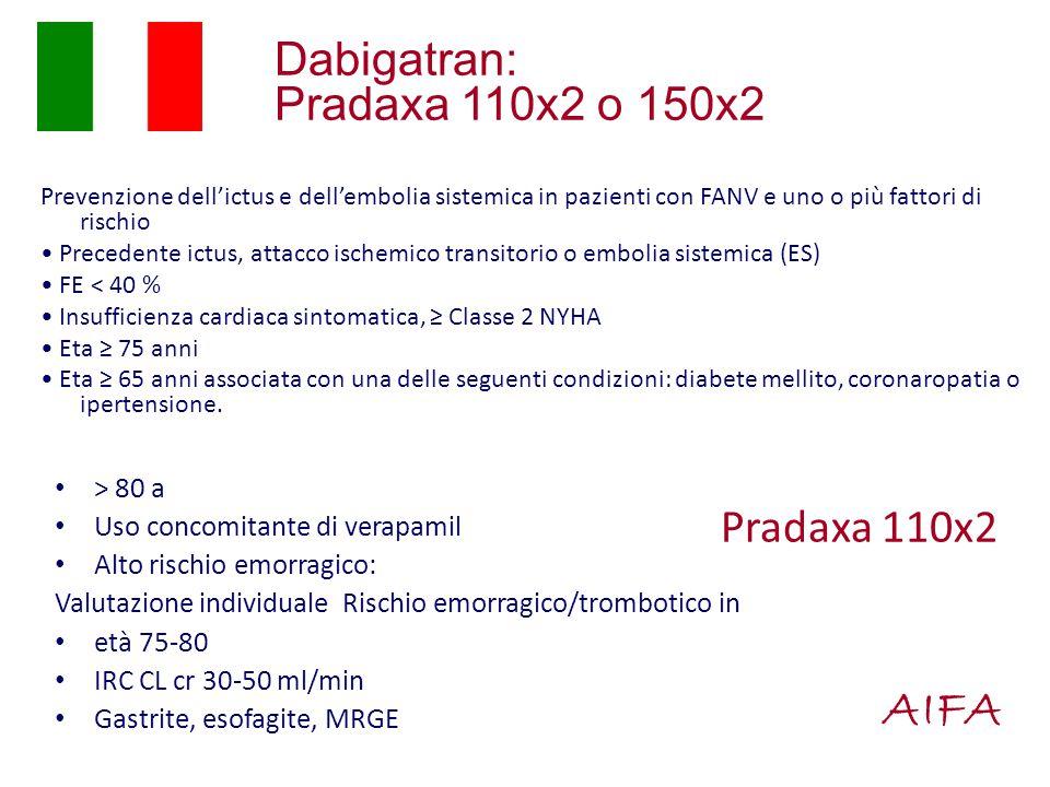 AIFA Dabigatran: Pradaxa 110x2 o 150x2 Pradaxa 110x2 > 80 a